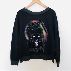 "WILDFOX Black ""Night Creature"" Pullover Sweatshirt"